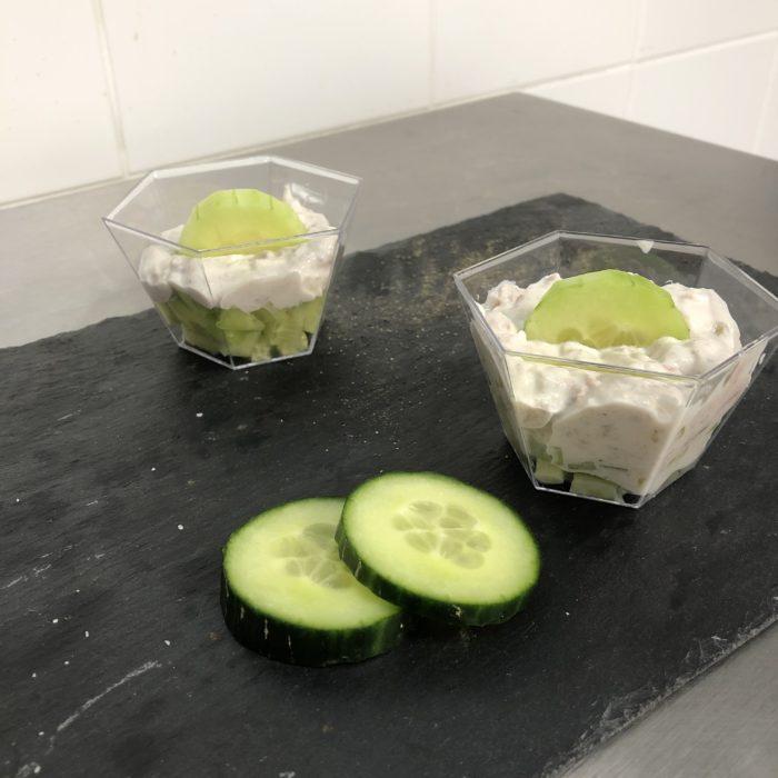 Verrine concombre et rillette de thon